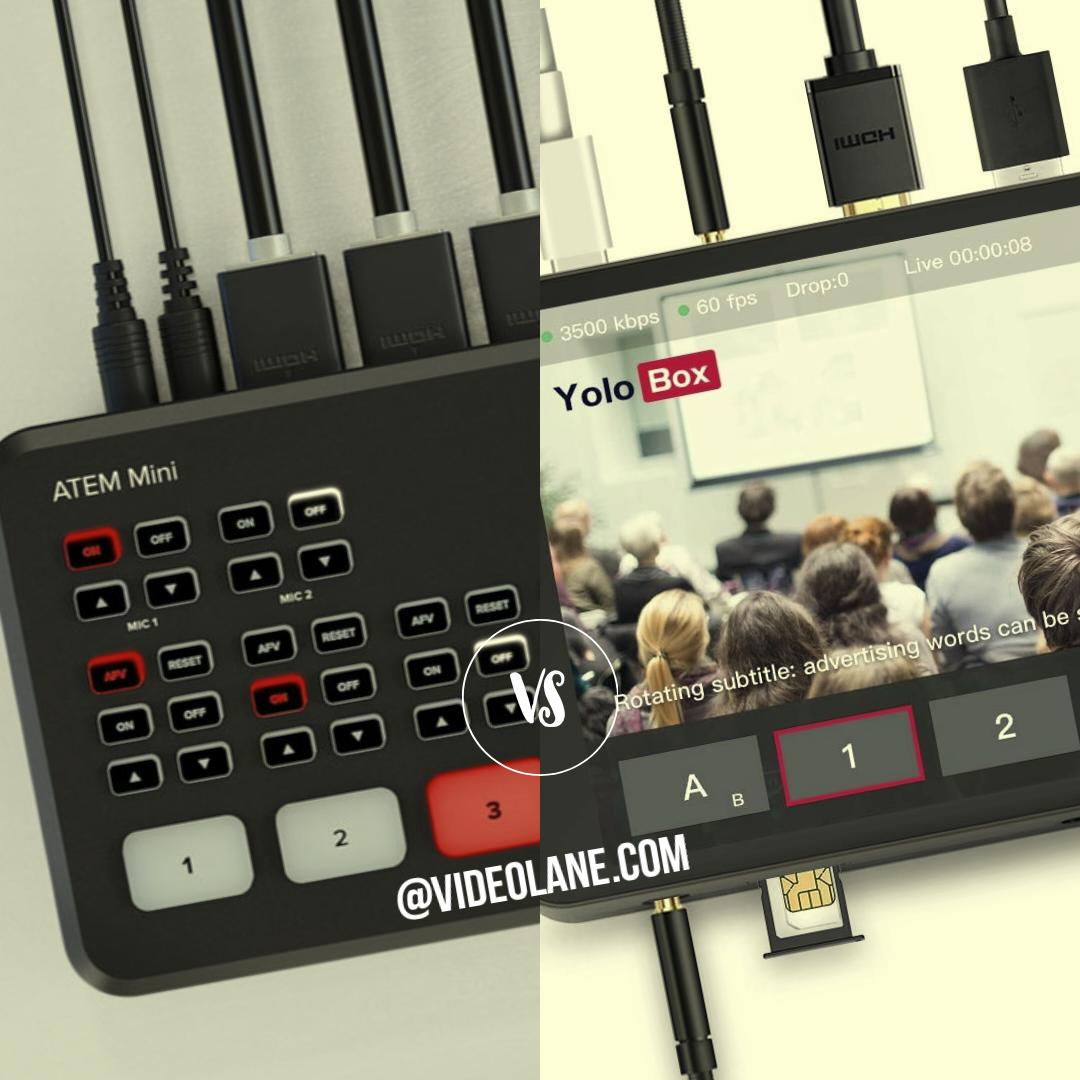 Atem Mini Pro Iso Vs Yolobox Hdmi Multi Camera Live Streaming Setup For Facebook Youtube Twitch More Videolane Com